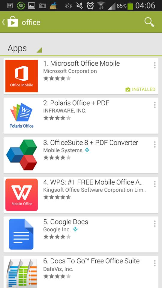 Excel on your mobile         for free :)