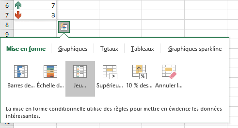 Menu d'analyse rapide