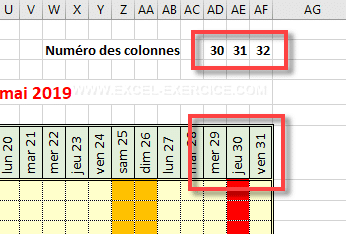Dates calculated for the column 30, 31 and 32