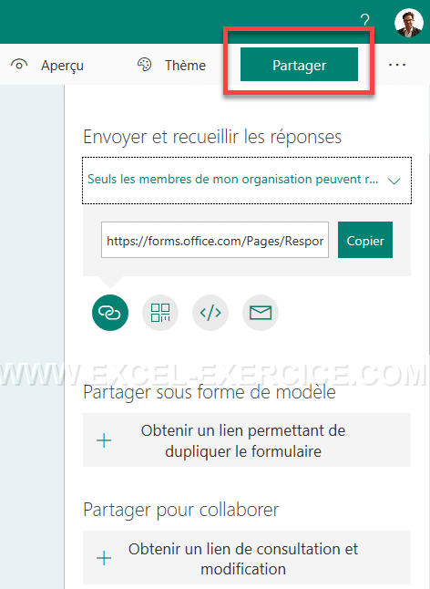 Options de partage d'un questionnaire Forms