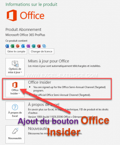 Apparition du bouton Office Insider