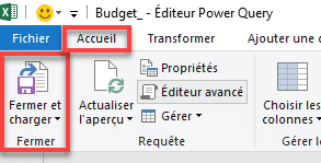 Bouton Fermer et charger dans Power Query