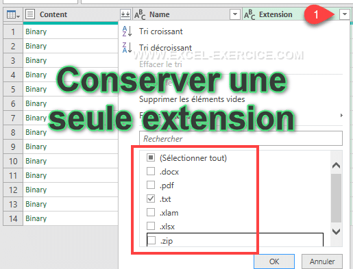 Conserver un seul type dextension par filtrage