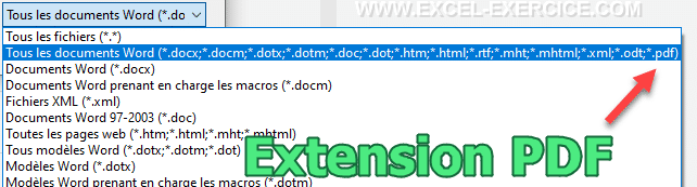 Extension pdf dans Word