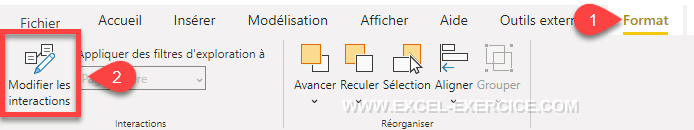 Menu Modifier les interactions Power BI