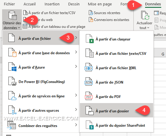 Power Query Menu importer a partir dun dossier