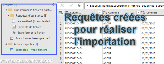Requetes automatiquement creees pour realiser limportation