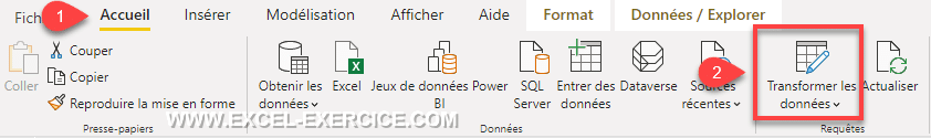Menu Power Query dans Power BI Desktop